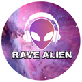 Rave alien head with headphones over cosmic purple background