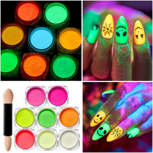 Ultrafine Luminous Nail Powder Neon Phosphor Colorful Glow - Rave Alien
