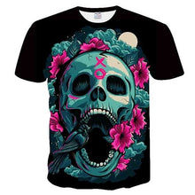 Load image into Gallery viewer, Skull&Flower 3D Printed t shirt