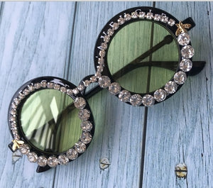 Round Eyewear UV400 Mirror Lens Flower Design Sunglasses
