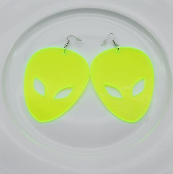 Alien Drop Earrings Neon three colors