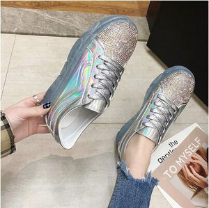 Sparkly Low-Platform Sneakers