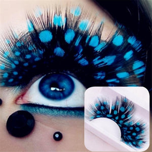 6 Colored Beauty Feather  Lashes Halloween 3d - Rave Alien