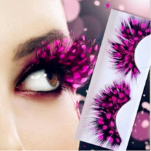 Load image into Gallery viewer, 6 Colored Beauty Feather  Lashes Halloween 3d - Rave Alien