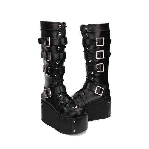 High wedge Platform Punk style Knee High Boots