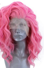 Load image into Gallery viewer, Wig Short Roll Wave Pink Free Part High Temperature Fiber - Rave Alien