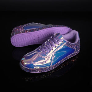 New Holographic PU Leather Women Casual Shoes Lace-up Rhinestone - Rave Alien