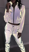 Load image into Gallery viewer, Reflective Sliver Two Piece Set Zipper - Rave Alien