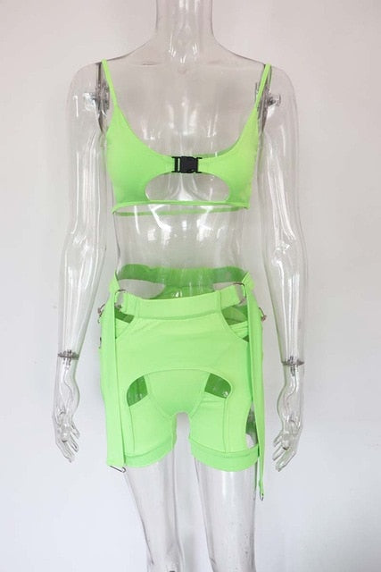 Buckle Biker Shorts Set 2 Piece Sexy Cut Out Crop Top And High Waist - Rave Alien
