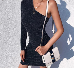 Black Glitter One Shoulder Halter Skinny  Dress