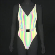 Load image into Gallery viewer, Buckled Belt Reflective Bikini Spaghetti Strap - Rave Alien