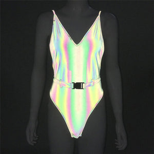 Buckled Belt Reflective Bikini Spaghetti Strap - Rave Alien