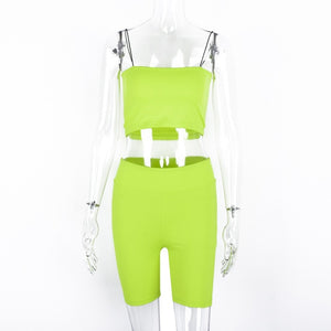 Neon Green/ Pink Two-Piece Biker Short Set