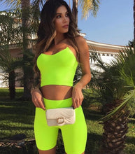 Load image into Gallery viewer, Neon Green/ Pink Two-Piece Biker Short Set