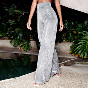 High Waist Glitter Sparkle Bling Wide-leg pantS