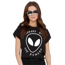 Load image into Gallery viewer, Aliens Printed White Crop Top Short Sleeve T Shirt - Rave Alien