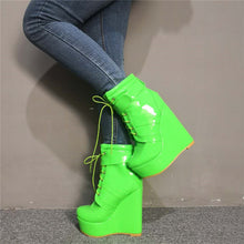 Load image into Gallery viewer, Ankle Boots Cross-tied Wedges High platforms