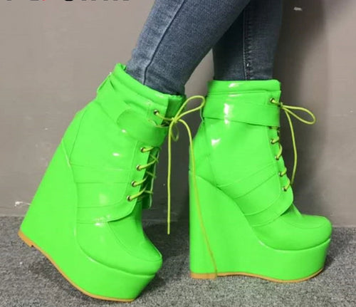 Ankle Boots Cross-tied Wedges High platforms