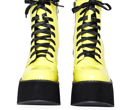 Leather Ankle Boots Platform Boots - Rave Alien