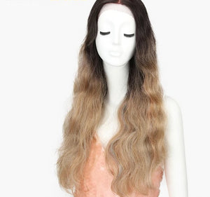 WIig Long Natural Wave 30inch Omber, Pink, Rainbow - Rave Alien