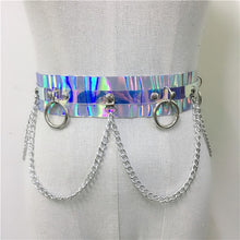 Load image into Gallery viewer, Two Piece Set Body Harness Metal Chains Top Waist Bondage Belt P - Rave Alien