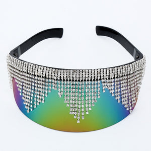 Rhinestone Oversized Mirror Sunglasses