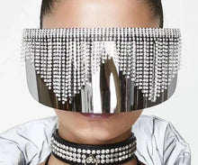Load image into Gallery viewer, Rhinestone Oversized Mirror Sunglasses