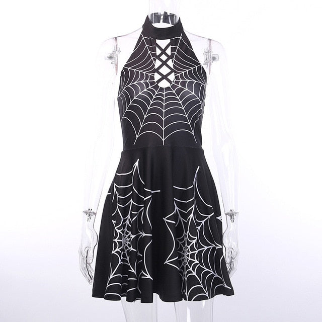Hollow Out Sexy Fashion Crisscross Bandage Halter Dresses Backless - Rave Alien