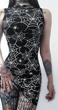 Load image into Gallery viewer, Goth Dark Aesthetic Spider Web Print Bodycon Dresses - Rave Alien