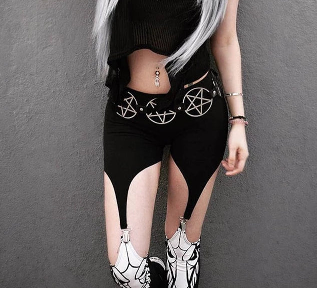 Goth Dark High Waist black Patchwork Pants - Rave Alien