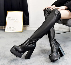 HQFZO Leather Platform Women Long Boots Over the Knee Boots Platform Sexy Female Autumn Winter Thigh High Boots  Botas Mujer - Rave Alien
