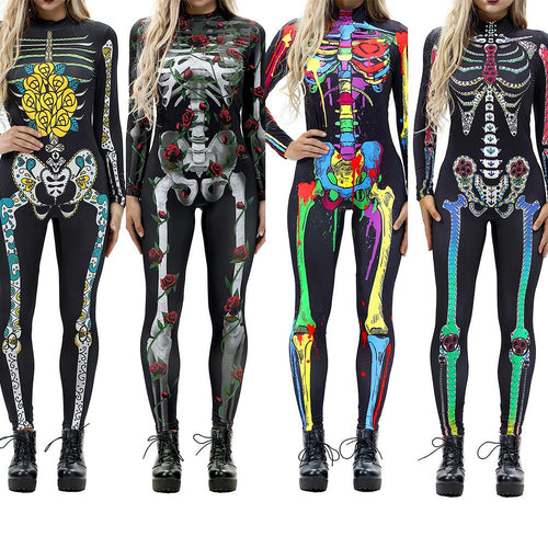 Zombie Costume  Sexy Skeleton Jumpsuit Bodycon