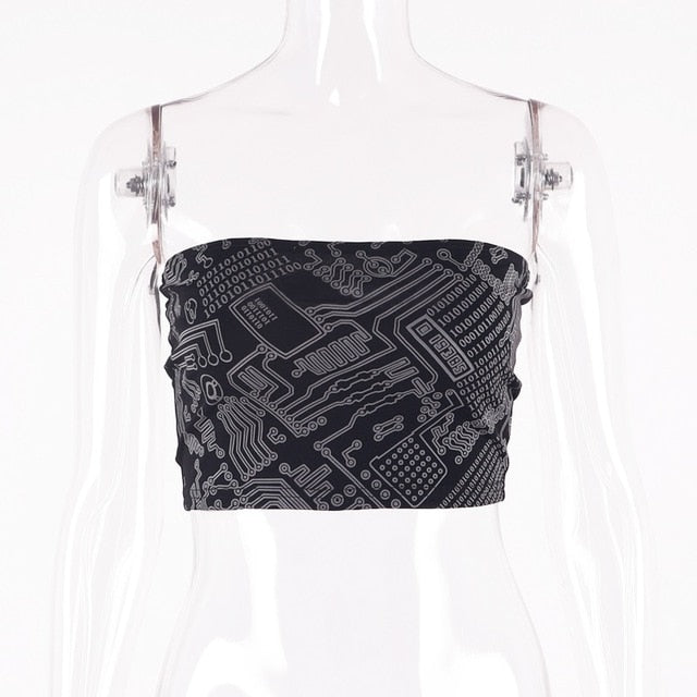 reflective print sexy crop tops - Rave Alien