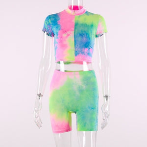 short sleeve crop tops shorts tie dye print  2 piece - Rave Alien