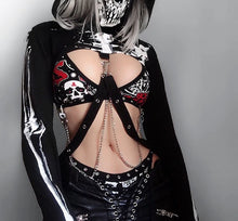 Load image into Gallery viewer, InstaHot Gothic Punk Hooded Hoodies Women Black Skeleton Print Mask Long Sleeve Crop Tops 2019 Fashion Halloween Top Sweatshirt - Rave Alien