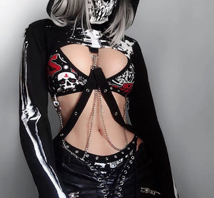 InstaHot Gothic Punk Hooded Hoodies Women Black Skeleton Print Mask Long Sleeve Crop Tops 2019 Fashion Halloween Top Sweatshirt - Rave Alien