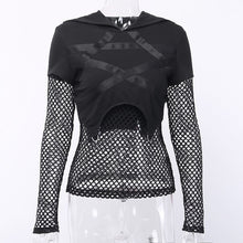 Load image into Gallery viewer, JIEZUOFANG Black Women Gothic Pentagram Printed Mesh Long Sleeve Sexy Hollow Out Female Fashion Streetwear Tops - Rave Alien