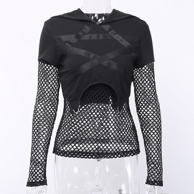 JIEZUOFANG Black Women Gothic Pentagram Printed Mesh Long Sleeve Sexy Hollow Out Female Fashion Streetwear Tops - Rave Alien