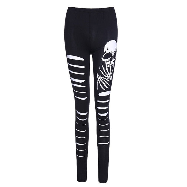 JIEZuoFang Wholesale 3D Printed High Elasticity Women Legging Skull Ghost Claw Pattern Black Fitness Leggings High Waist Pants - Rave Alien