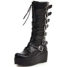 Load image into Gallery viewer, Karinluna New Arrivals Plus Size 33-46 Wedge High Heels Buckles Shoes Woman Boots Female Platform Mid Calf Boots Women Shoes - Rave Alien