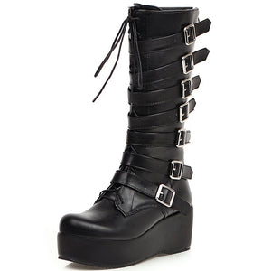 Karinluna New Arrivals Plus Size 33-46 Wedge High Heels Buckles Shoes Woman Boots Female Platform Mid Calf Boots Women Shoes - Rave Alien