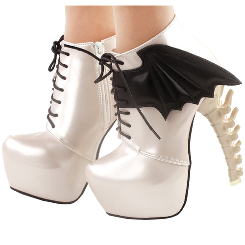 LF80658 Show Story Punk Two Tone Wings Lace Up Bone Heels Platform Ankle Boots - Rave Alien