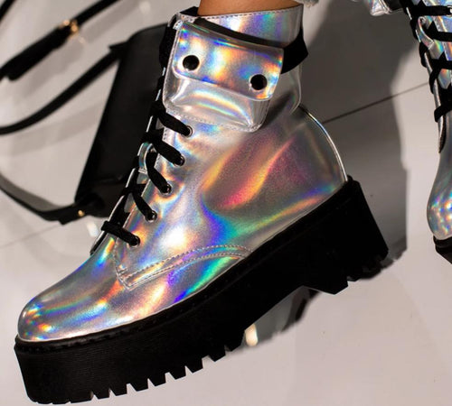 Cosmic World Holographic  Ankle Boots
