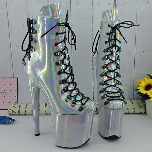Leecabe Laser PU 20CM/8inches Pole dancing shoes High Heel platform Boots Closed toe Pole Dance boots