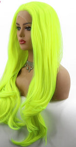 Natural Wavy Neon Yellow Synthetic Lace Front Wigs - Rave Alien