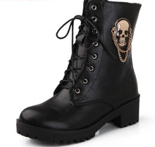 Load image into Gallery viewer, Pirate Skull Ankle Boots