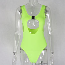 Load image into Gallery viewer, Neon Hollow Out O-neck Buckle Bodysuit