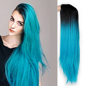 Wig Ombre Blue Green Straight Long Synthetic - Rave Alien
