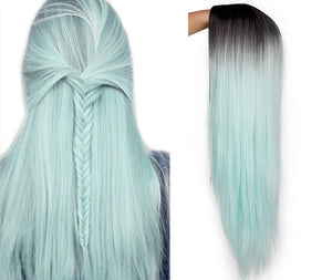 Wig 9 different Colors Straight Long Synthetic - Rave Alien