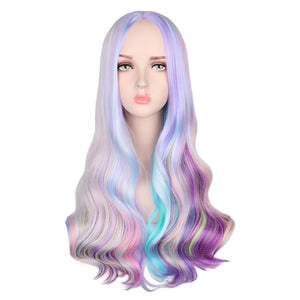Rainbow Colorful Long Wavy Party Heat Resistant Synthetic Hair Wigs - Rave Alien